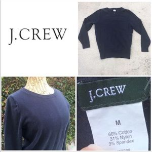 J Crew Woven Knit Navy Blue Crew Neck Sweater